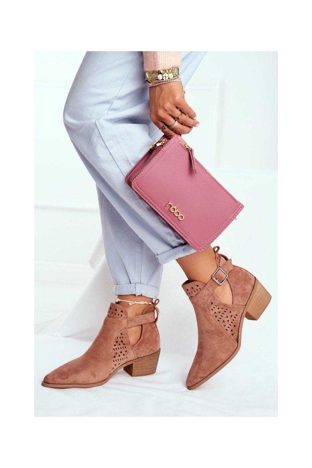 Dámske jarné topánky na podpätku Semišové Ružové Rita NJSK B-116
