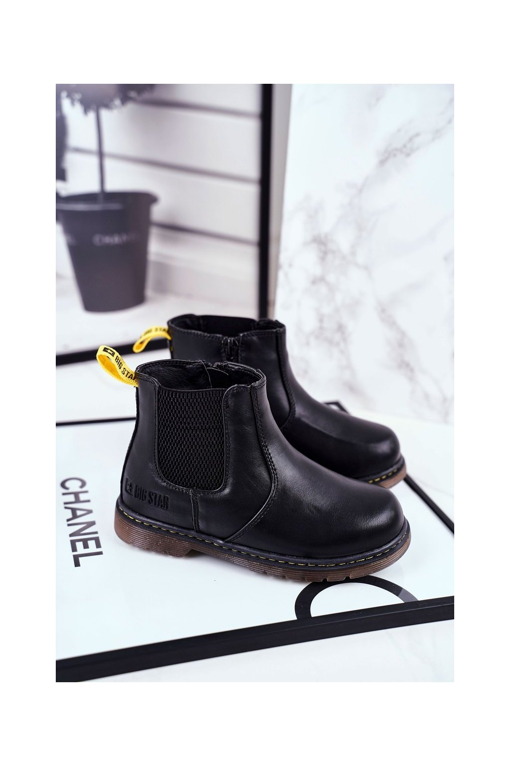 Detské členkové topánky farba čierna kód obuvi GG374080 BLK