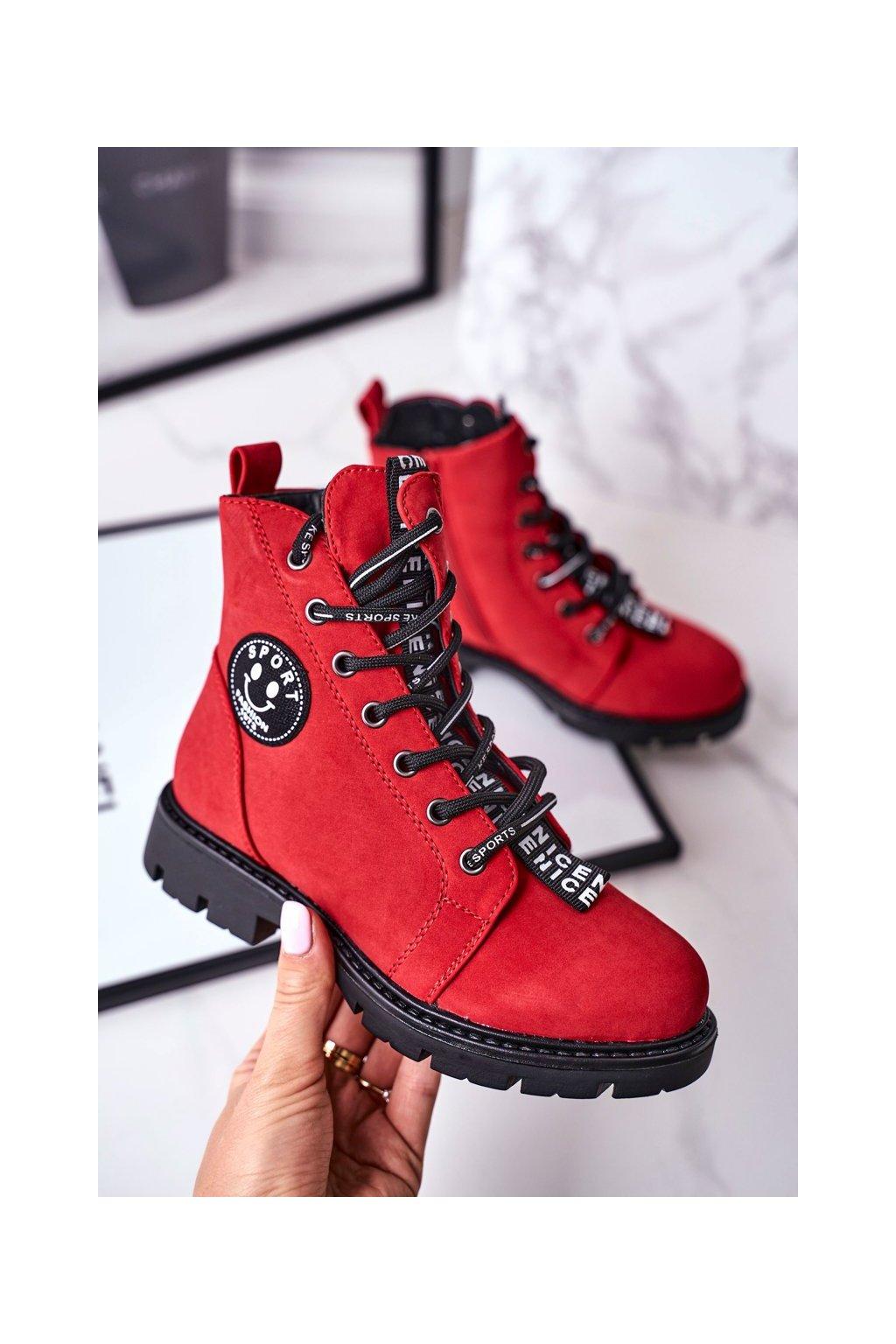 Detské členkové topánky farba červená kód obuvi 21-16208 RED