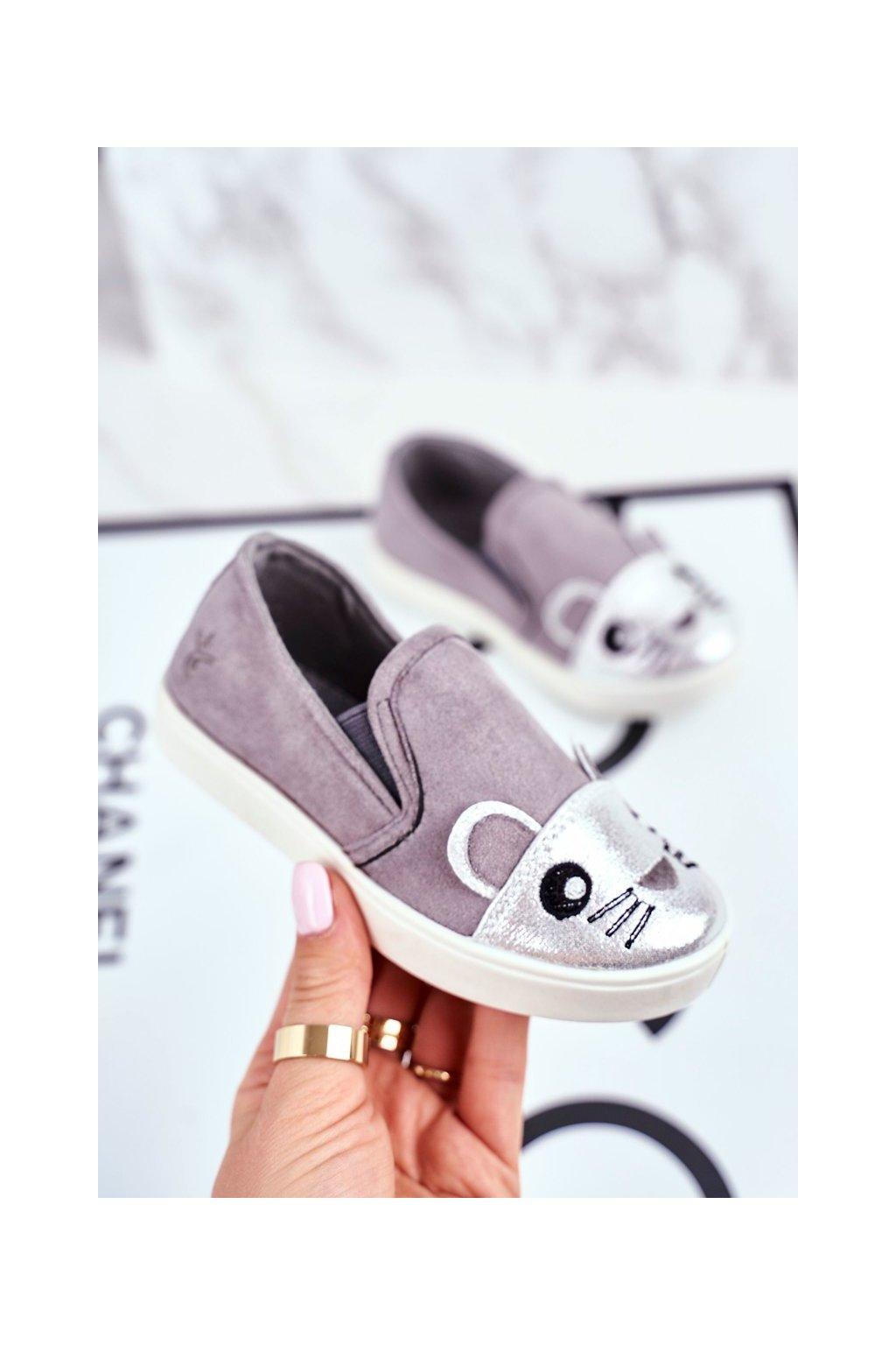 Detské tenisky farba sivá kód obuvi G1209LD-4 SILVER/GREY