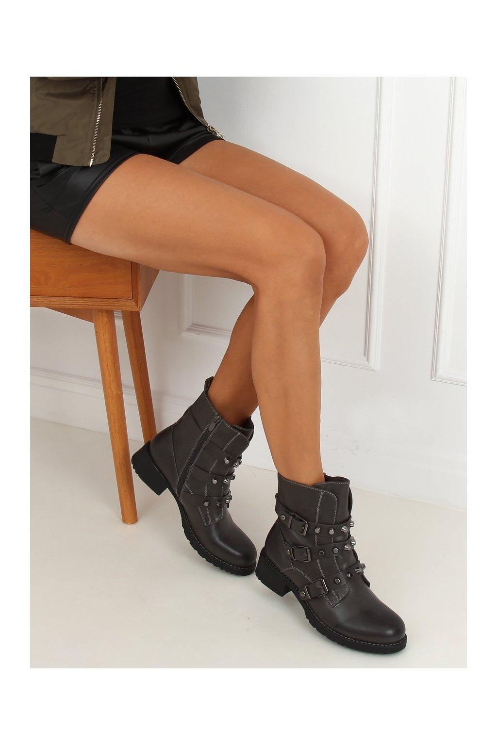 Dámske členkové topánky sivé Z195