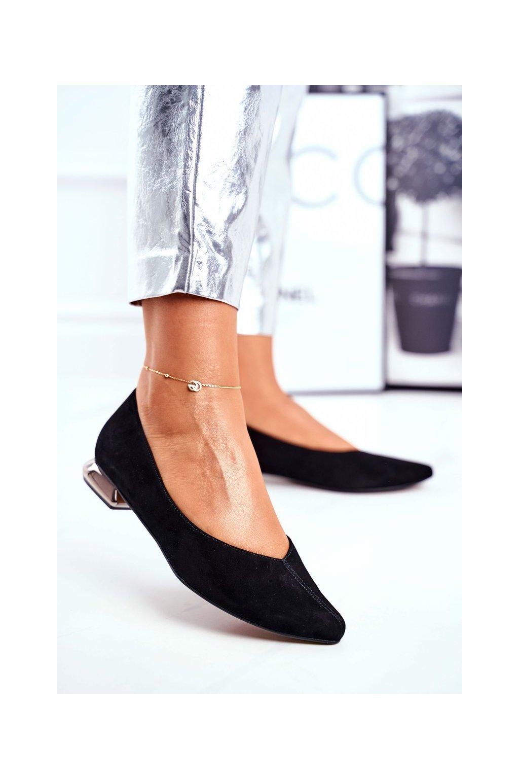 Dámske balerínky farba čierna kód obuvi 2149 BLK 081