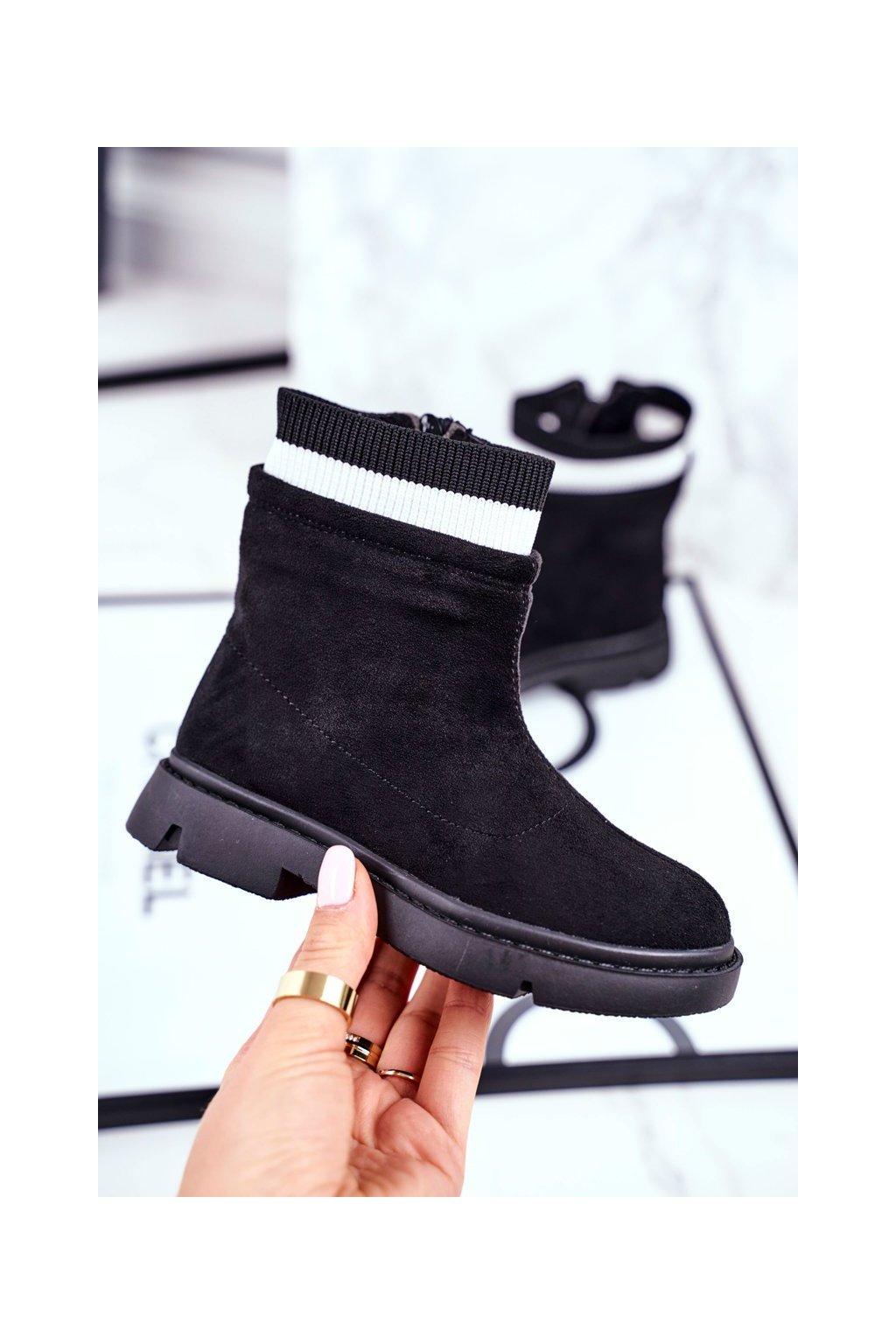 Detské členkové topánky farba čierna kód obuvi NQ87 BLK