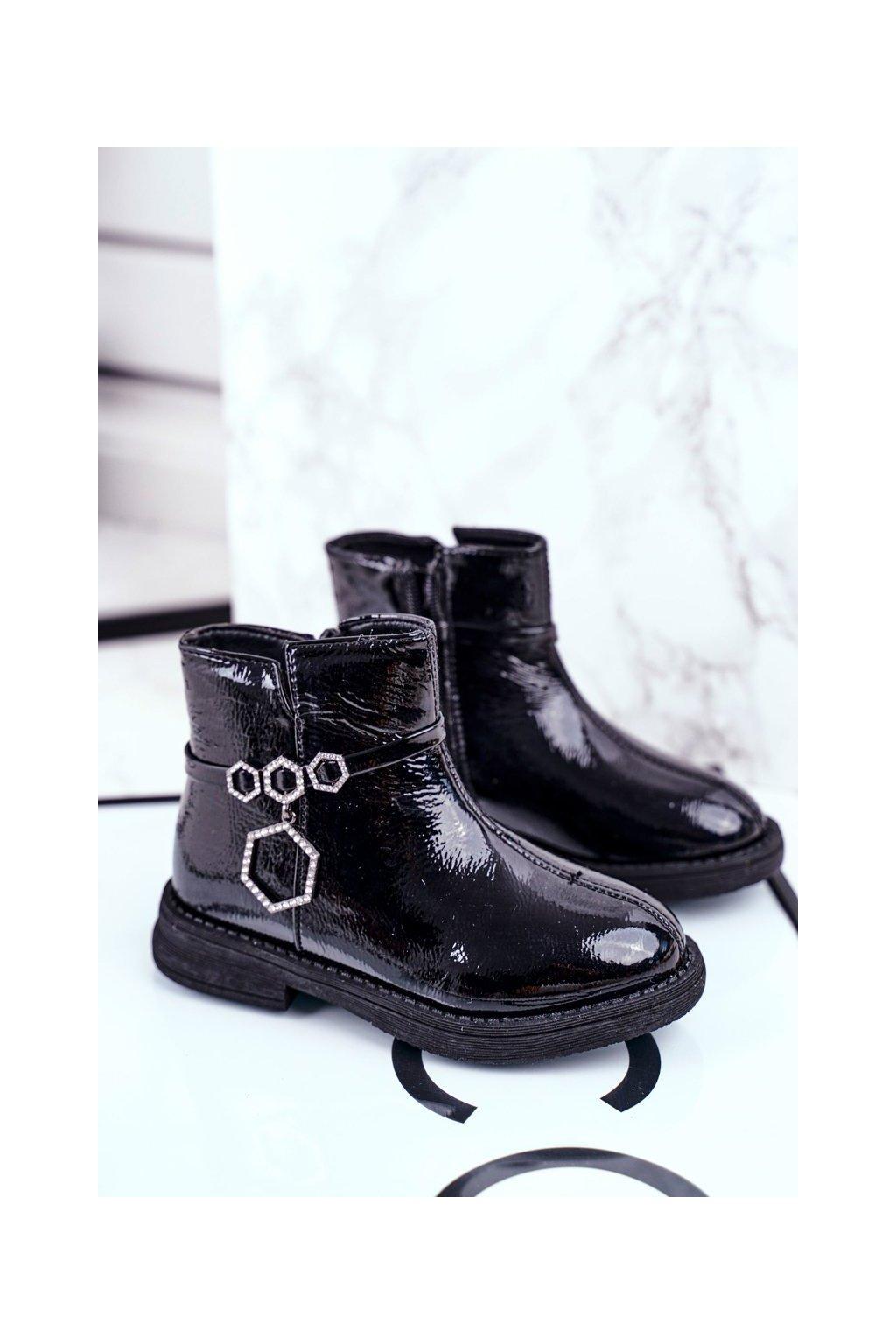 Detské členkové topánky farba čierna kód obuvi GQ192 BLK