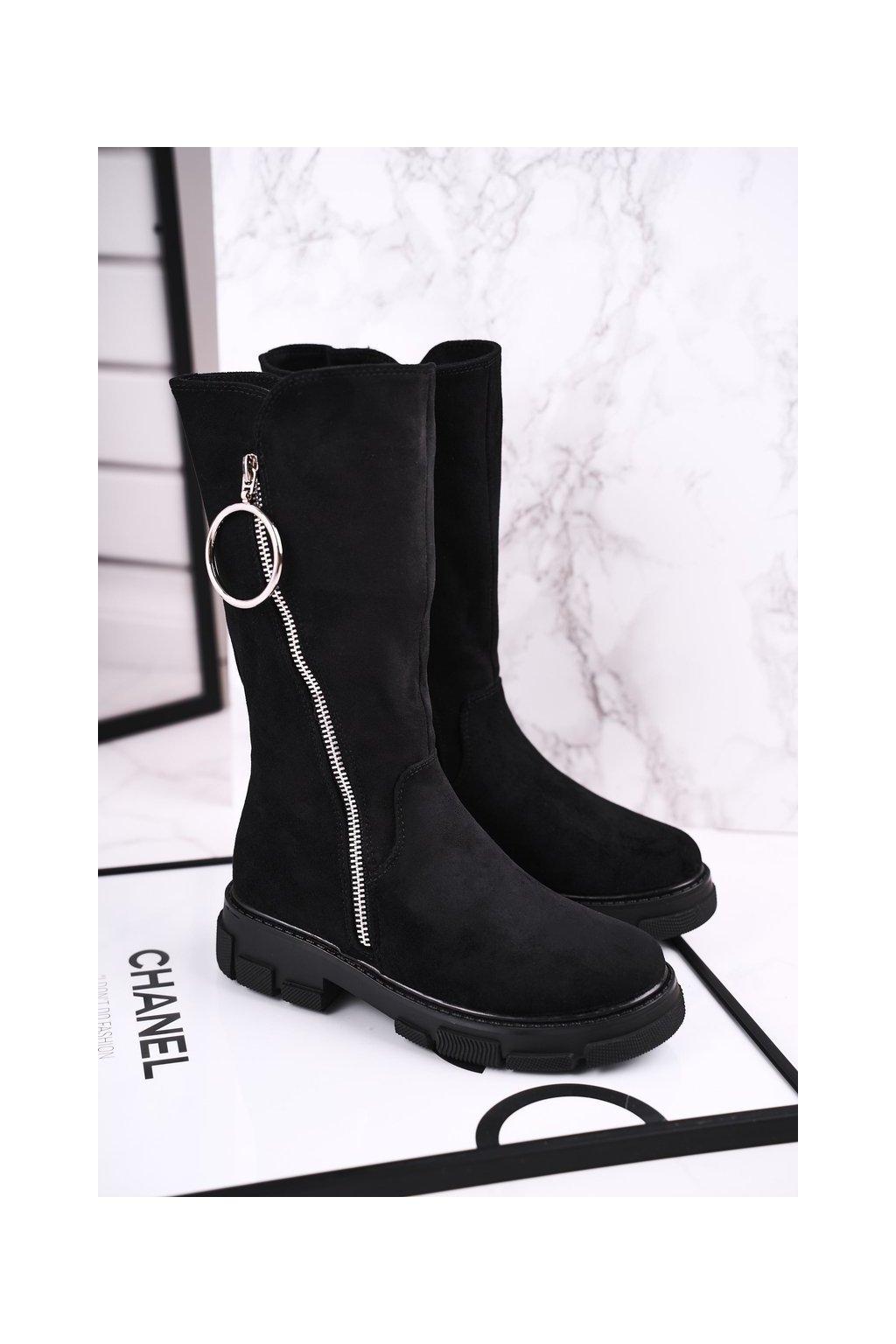 Detské členkové topánky farba čierna kód obuvi DD48 BLK