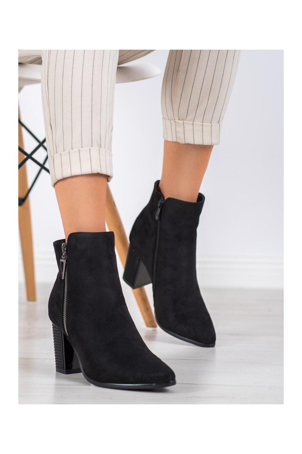 Čierne dámske topánky Vinceza kod HX21-16189B