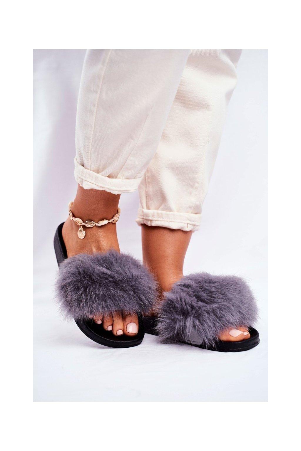 Dámske šľapky farba sivá kód obuvi RL-01 GREY