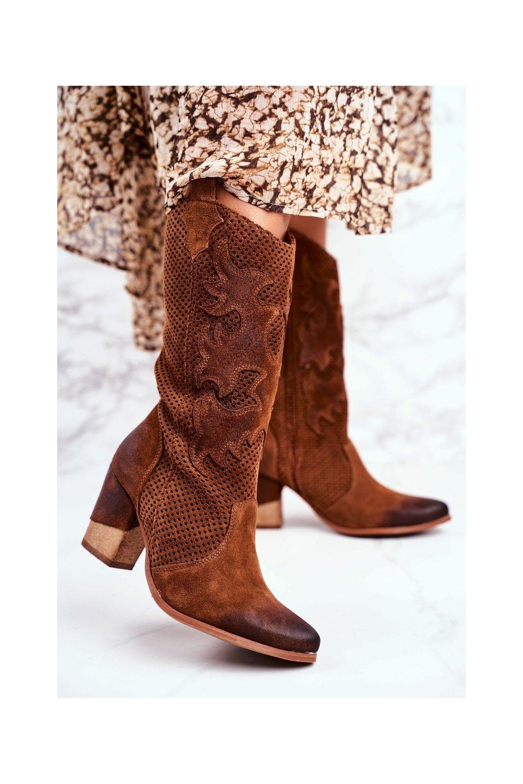 Členkové topánky na podpätku farba hnedá kód obuvi 1175 KONIAK