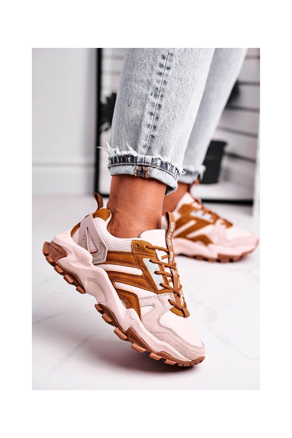 Dámske tenisky farba hnedá kód obuvi GG274664 BEIGE/BROWN