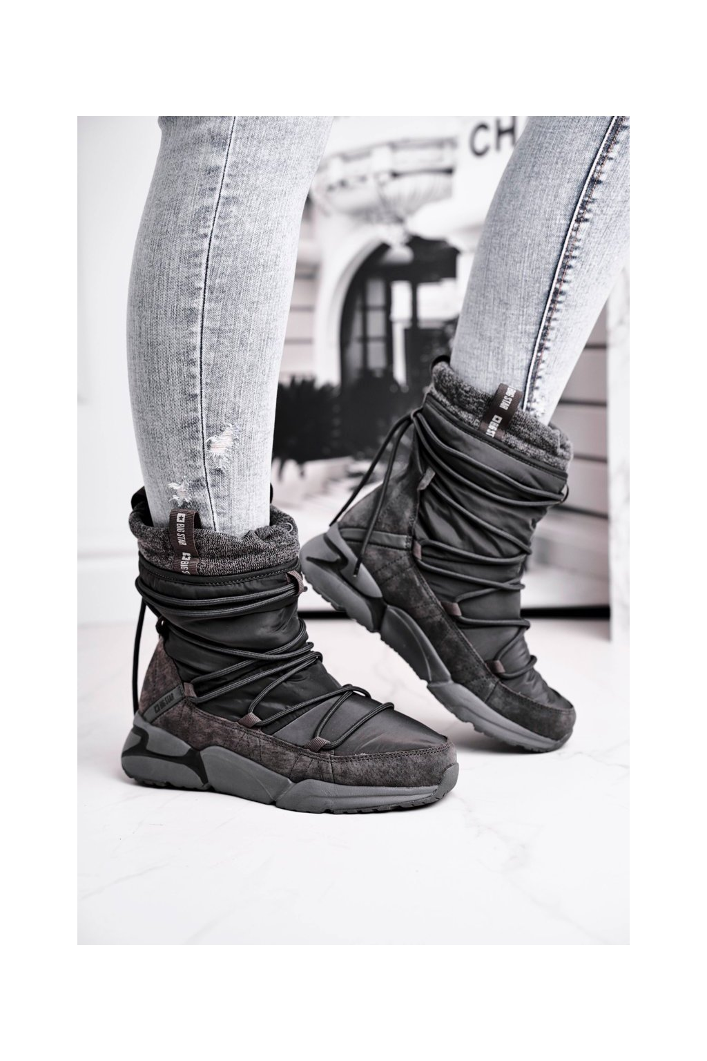 Dámske snehule farba sivá kód obuvi GG274629 GREY