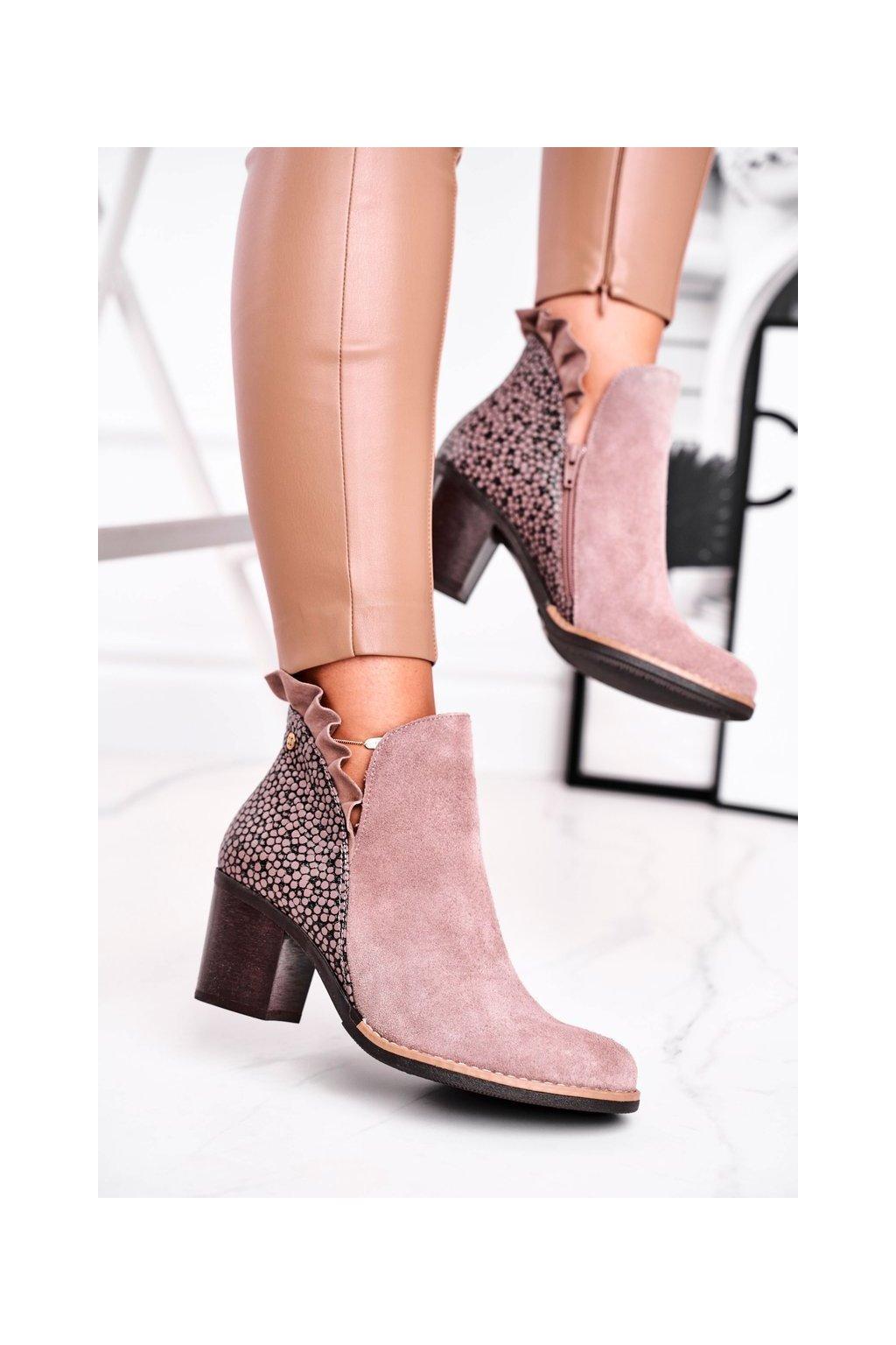 Členkové topánky na podpätku farba hnedá kód obuvi 04833-04/00-5 BEIGE