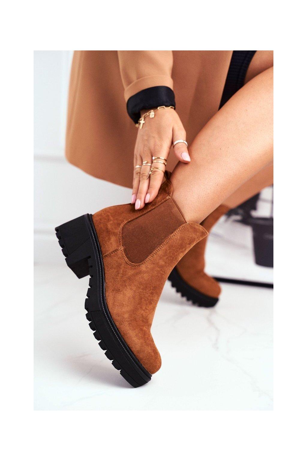 Členkové topánky na podpätku farba hnedá kód obuvi NS158 CAMEL
