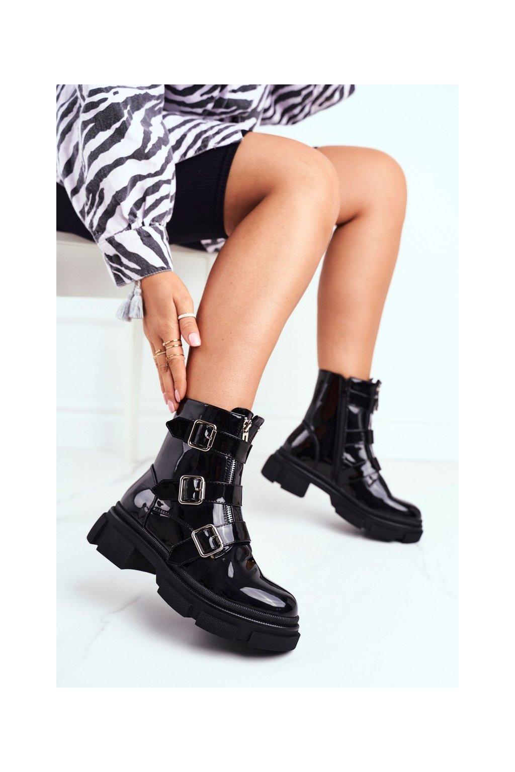 Členkové topánky na podpätku farba čierna kód obuvi DA58P BLK
