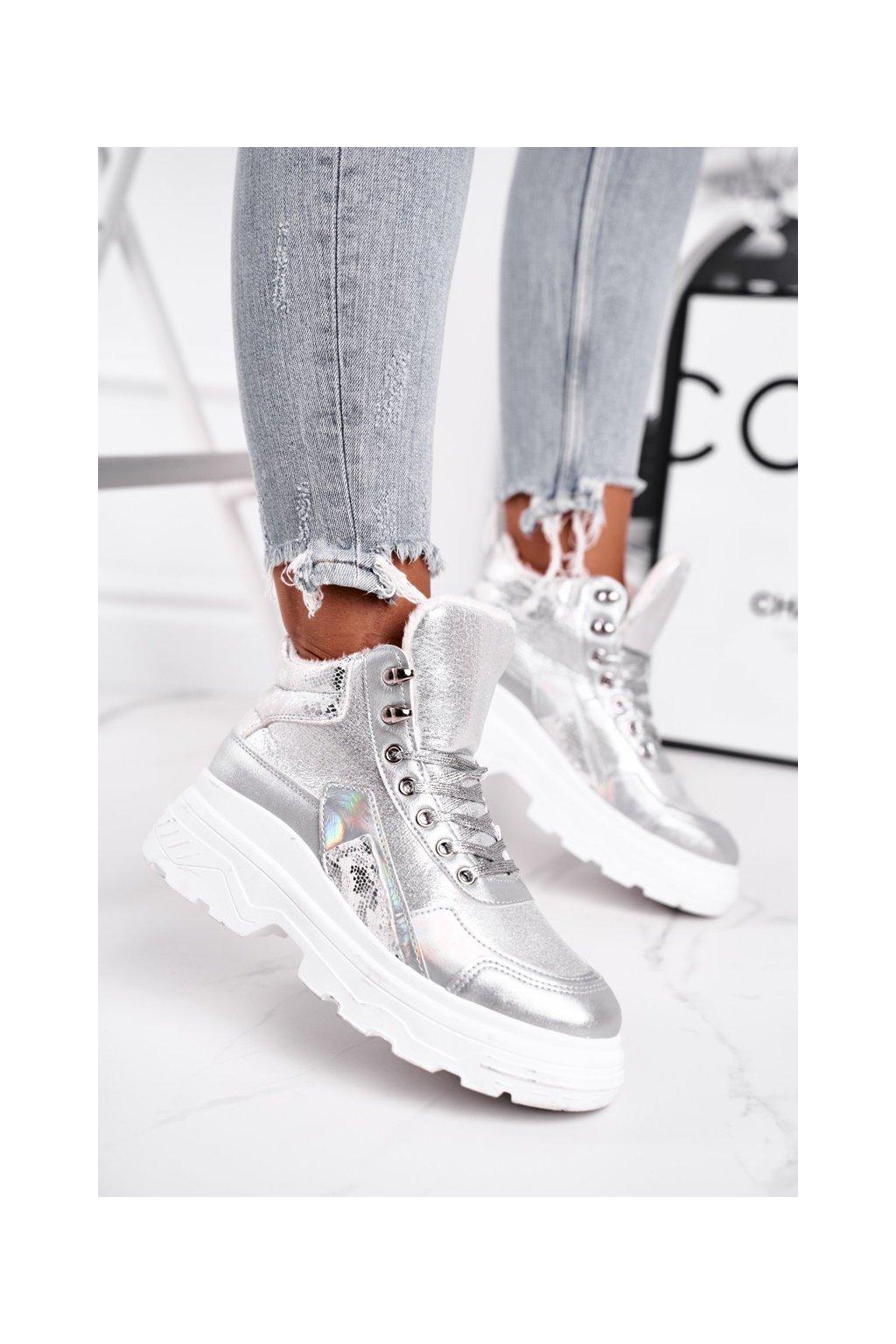 Dámske tenisky farba sivá kód obuvi IC01P SILVER
