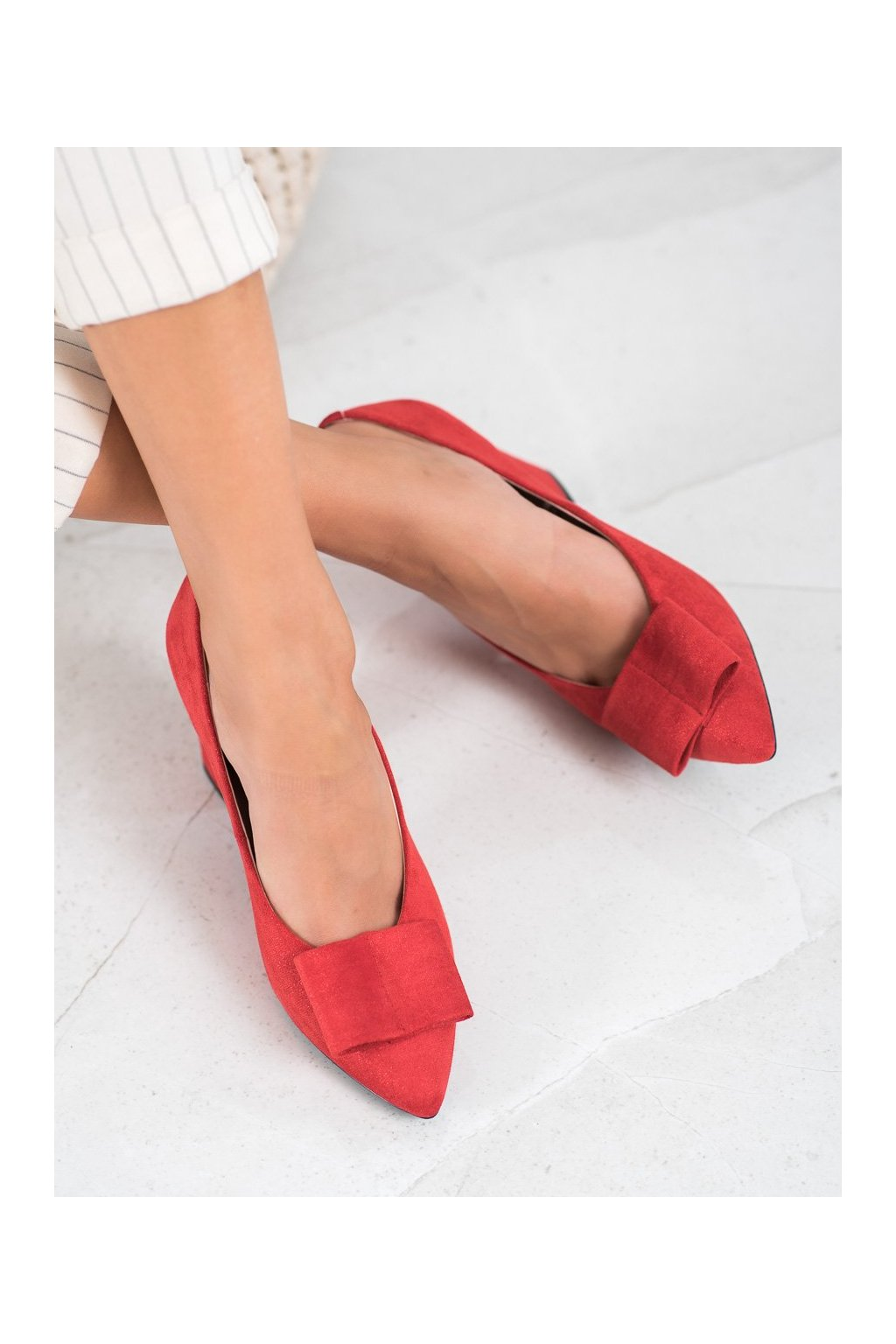 Červené dámske lodičky W. potocki kod XY20-10514R