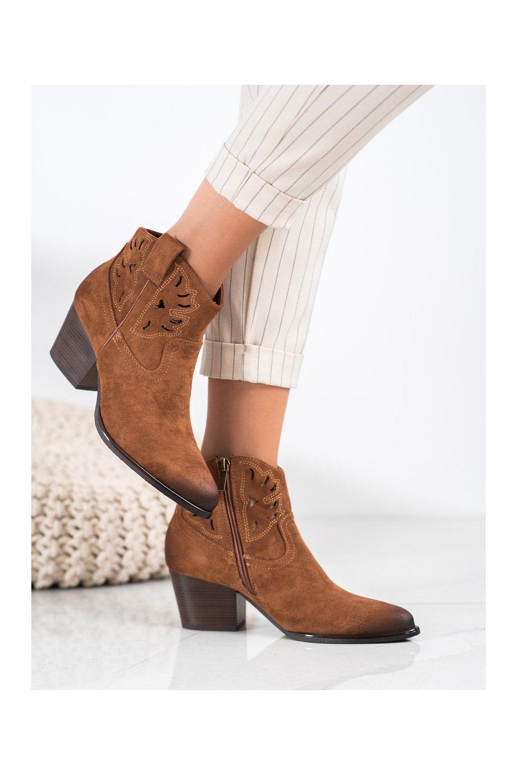 Hnedé dámske topánky Vinceza kod XY21-10540C