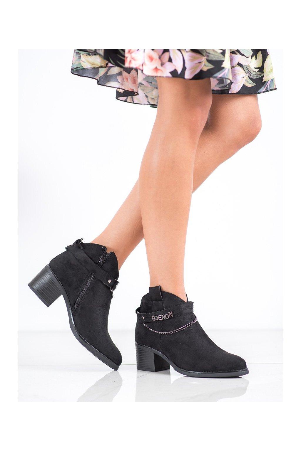 Čierne dámske topánky Vinceza kod HX21-16200B