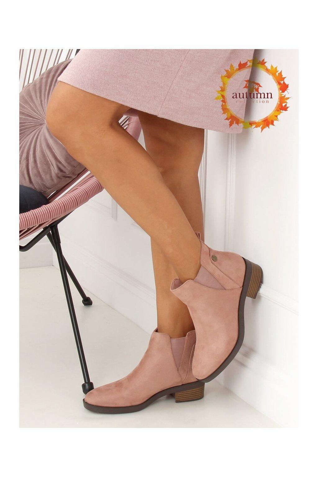 Dámske členkové topánky ružové na širokom podpätku 8B978