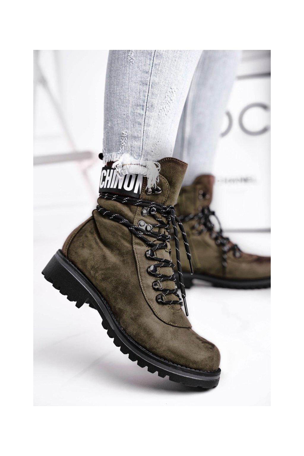 Členkové topánky na podpätku farba zelená kód obuvi 9BT35-1331 DK.GREEN
