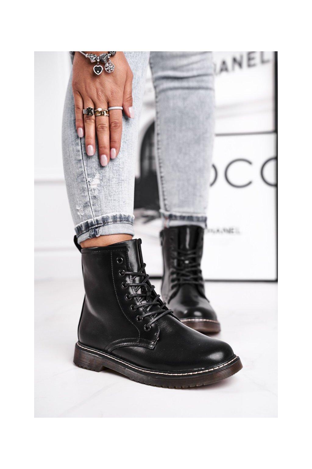 Členkové topánky na podpätku farba čierna kód obuvi 20BT35-3002 BLK MAT