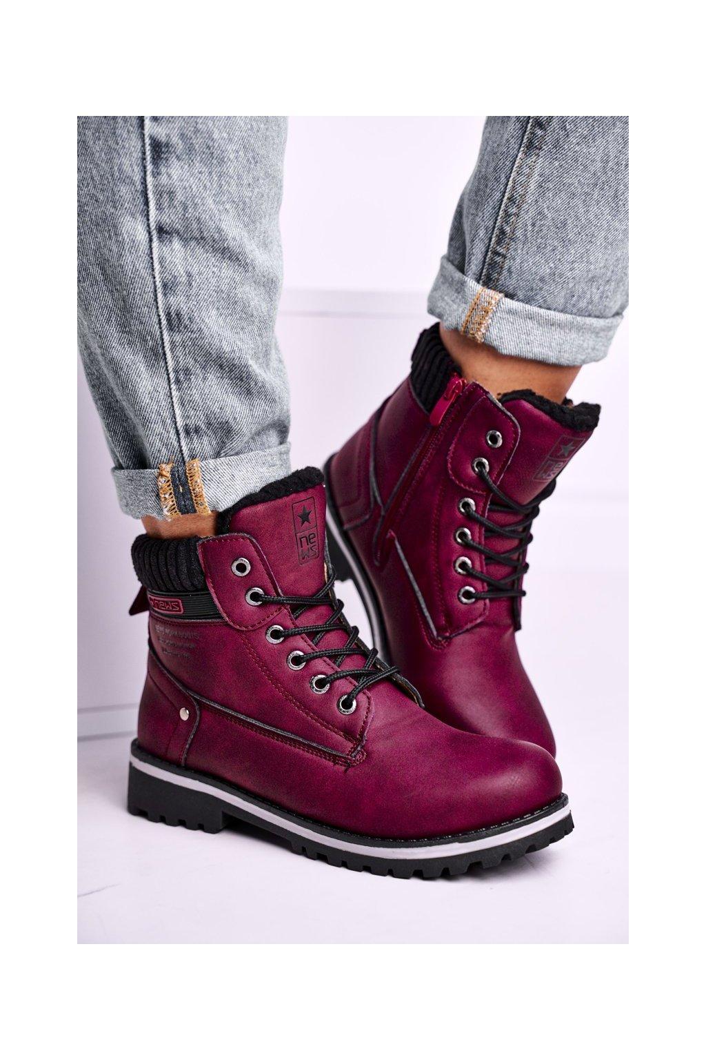 Členkové topánky na podpätku farba červená kód obuvi 8BT26-0746 BURGUNDY