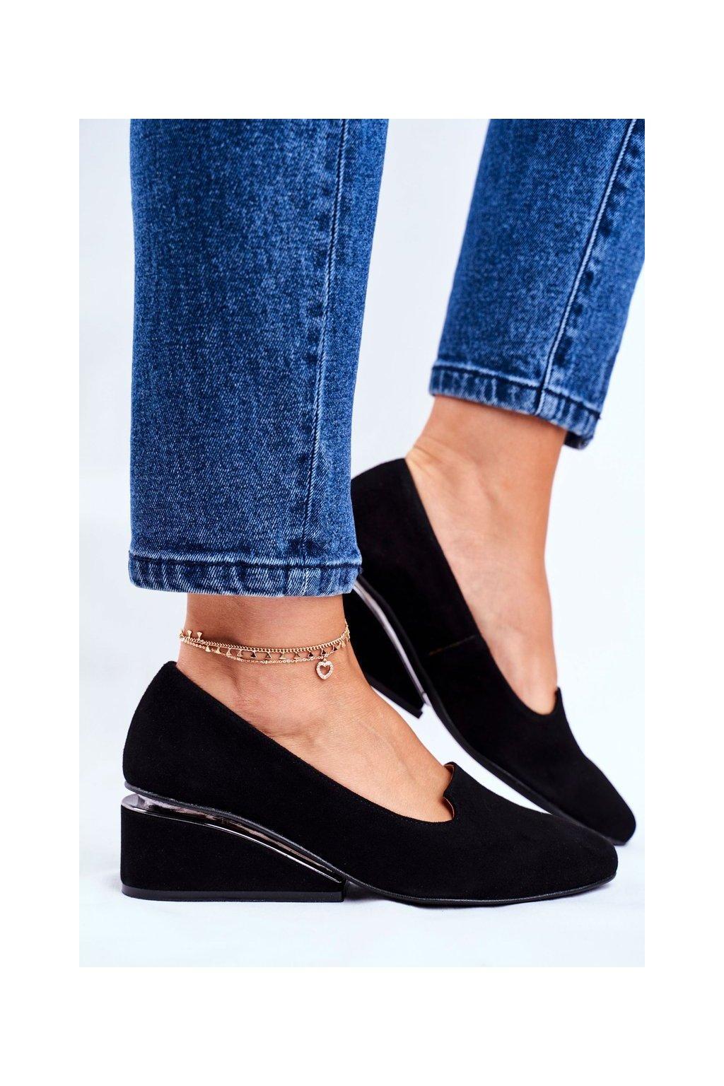 Dámske poltopánky farba čierna kód obuvi 1205 CZARNY