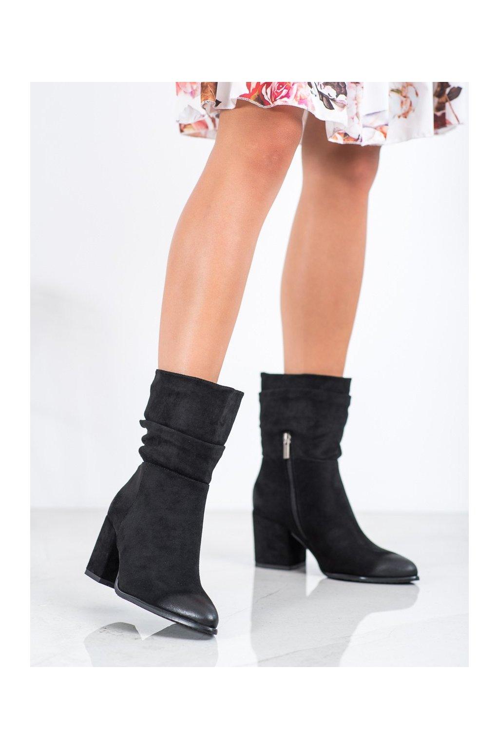 Čierne dámske topánky Vinceza kod XY21-10556B