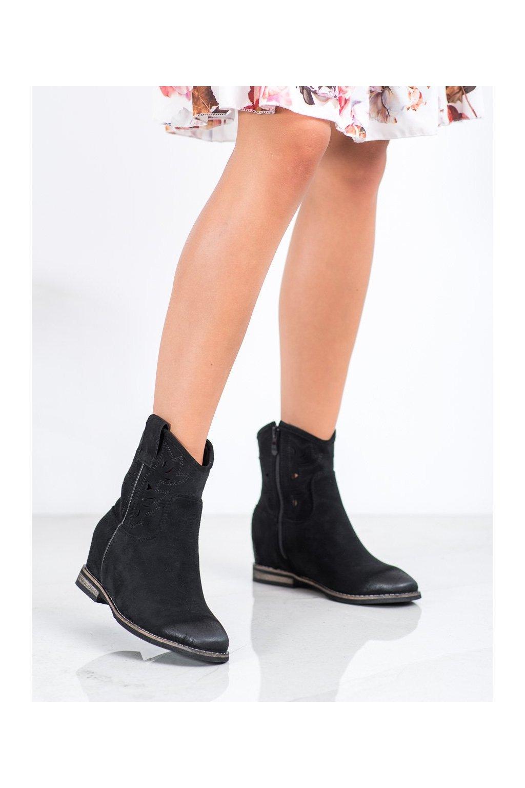 Čierne dámske topánky Vinceza kod HX21-16170B