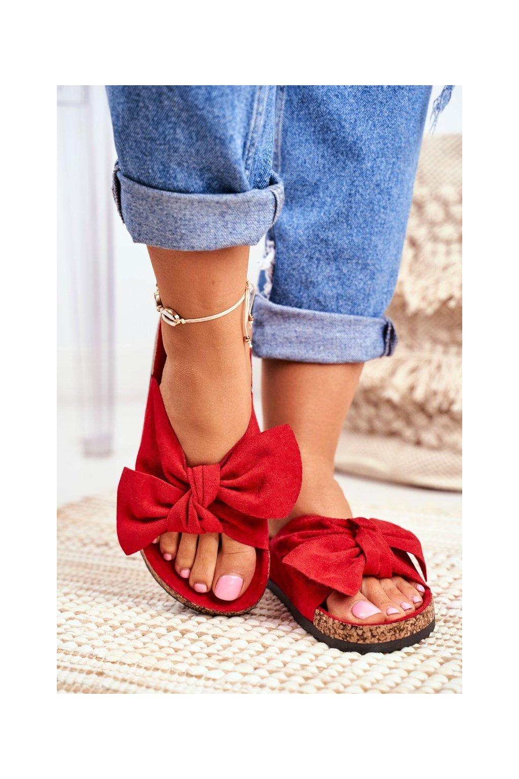 Dámske červené papuče na korku s mašľou Wendy NJSK RS-1