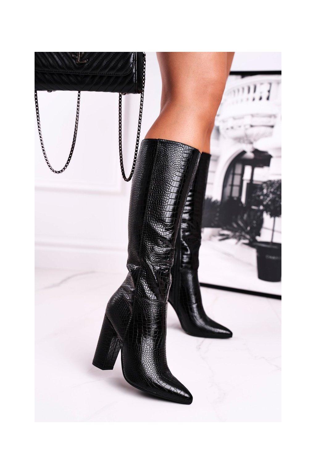 Dámske čižmy farba čierna kód obuvi UK01 BLK
