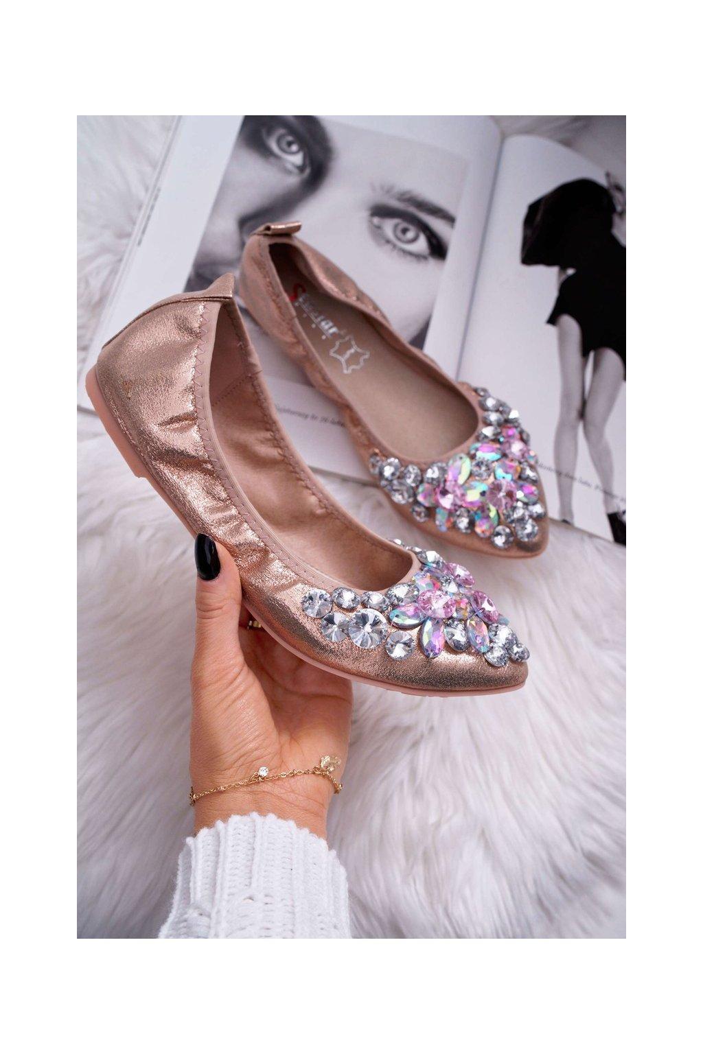 Dámske baleríny s ozdobnými kameny Champagne Crystal NJSK C87