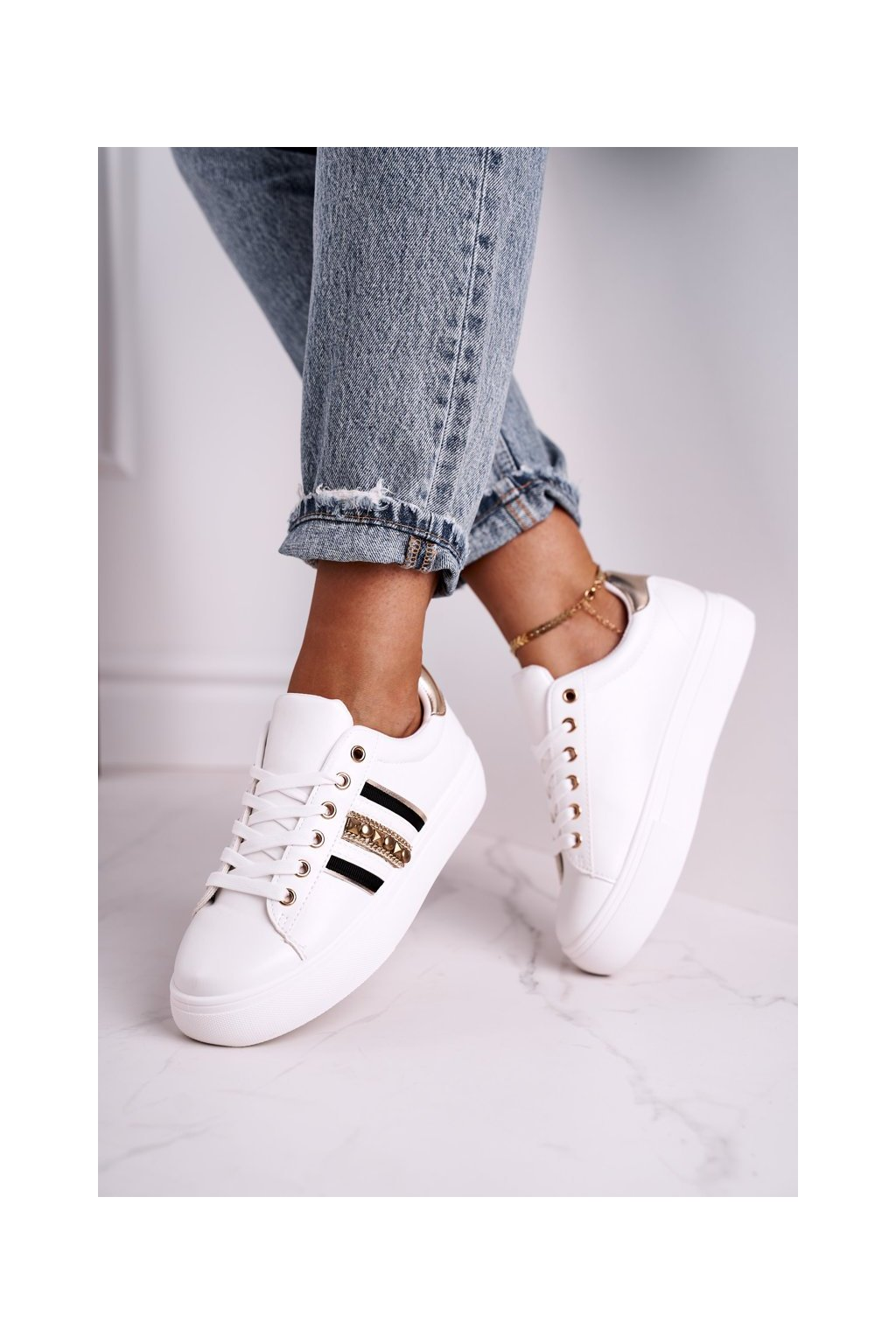 Dámske tenisky farba biela kód obuvi B-473 WHITE