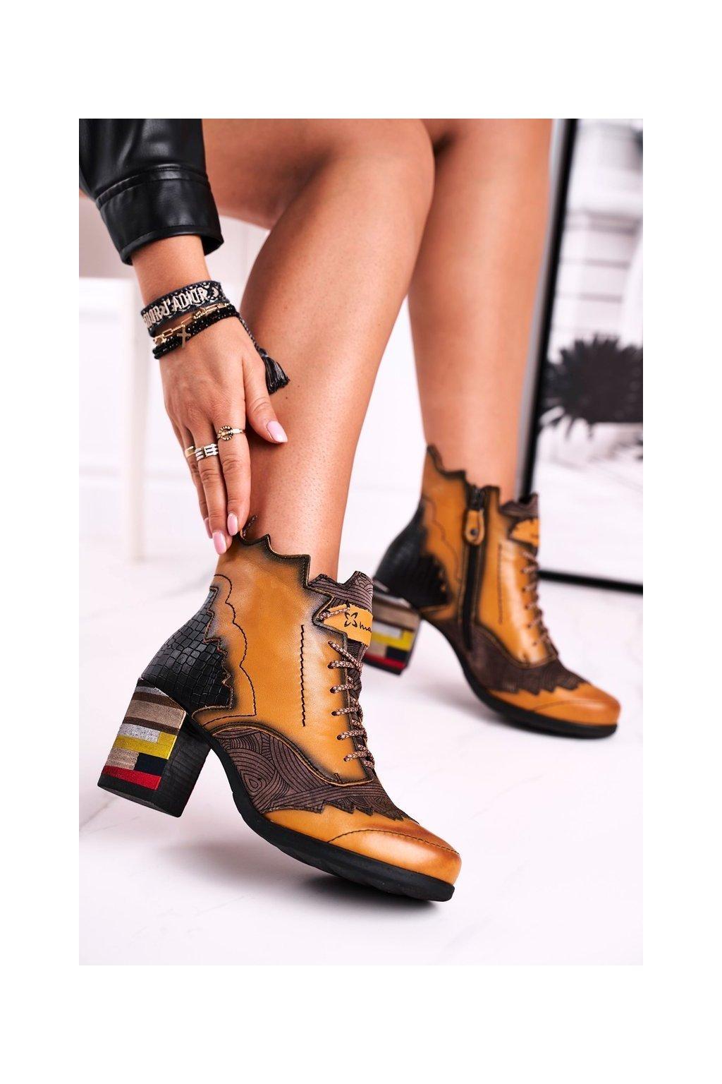 Členkové topánky na podpätku farba žltá kód obuvi 03190-07/00-3 YELLOW