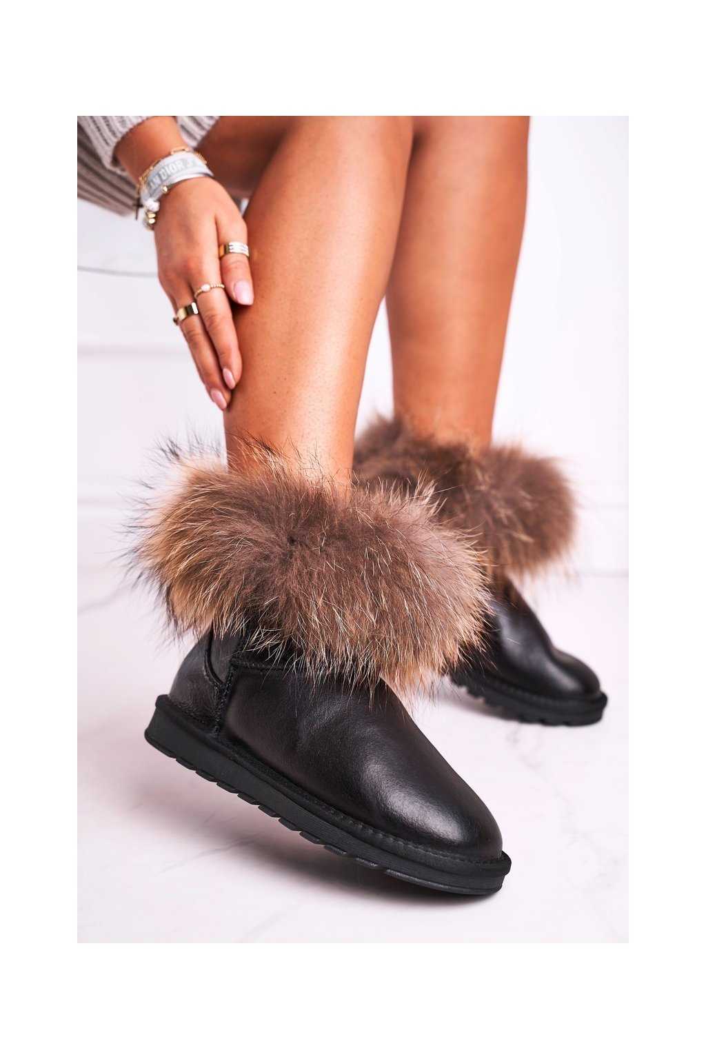 Dámske snehule farba čierna kód obuvi 5820-1 BLK