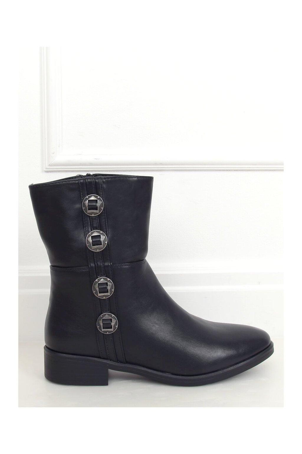 Dámske členkové topánky čierne na plochom podpätku 6266