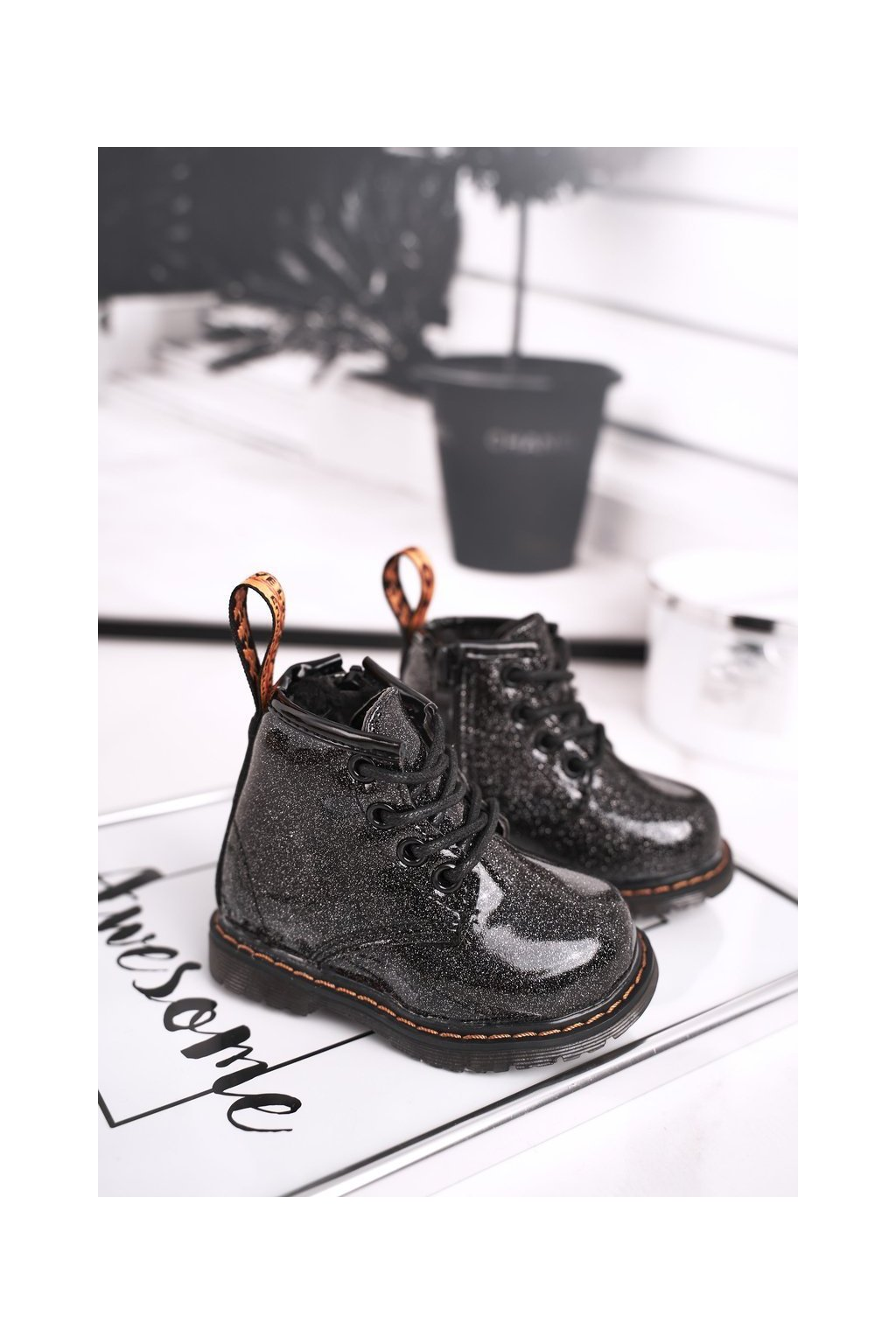 Detské členkové topánky farba čierna kód obuvi 20323-1A/2A BLK