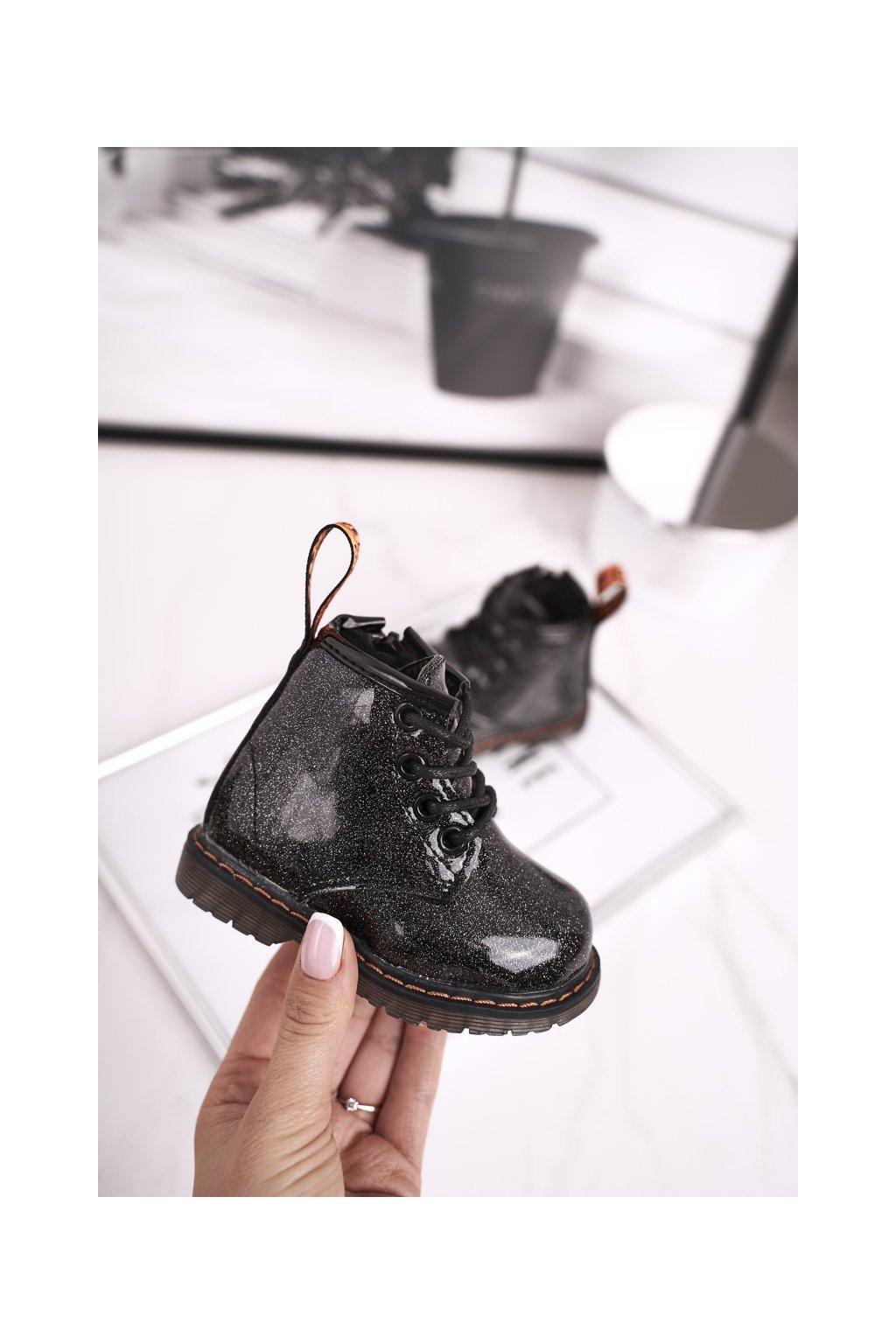 Detské členkové topánky farba čierna kód obuvi 20323-1A BLK