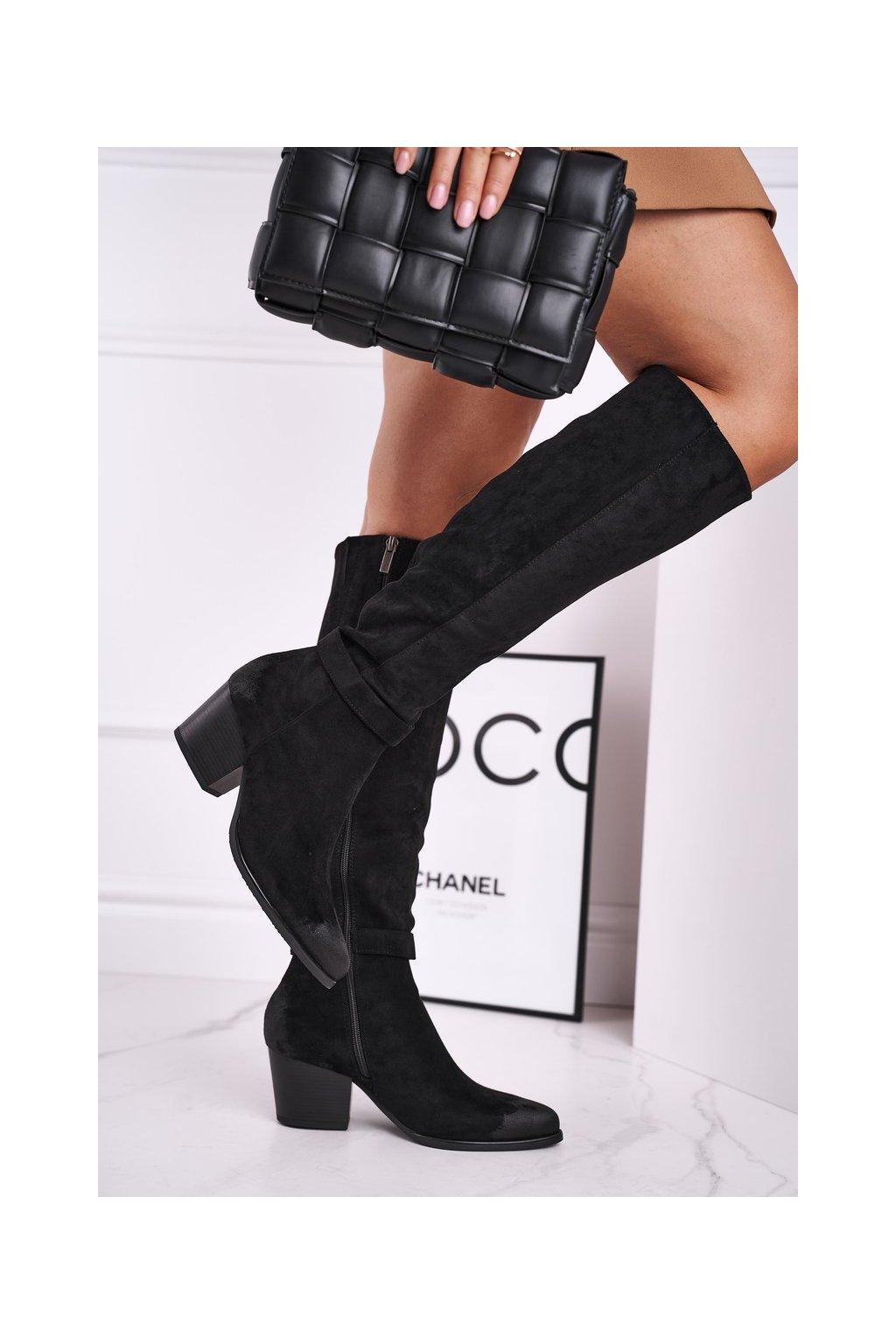 Dámske čižmy farba čierna kód obuvi 21-10545 BLK