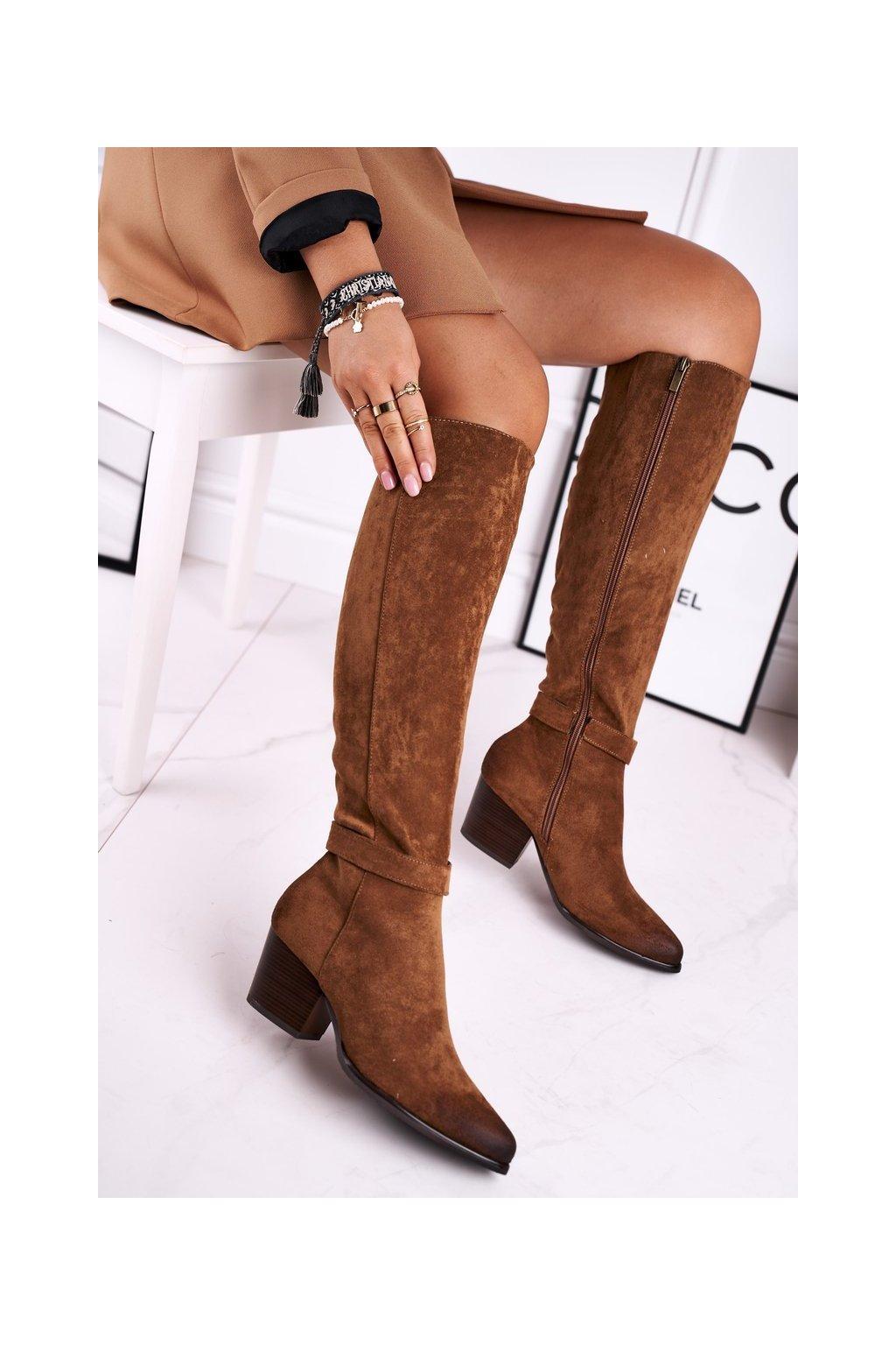 Dámske čižmy farba hnedá kód obuvi 21-10545 LT.BROWN