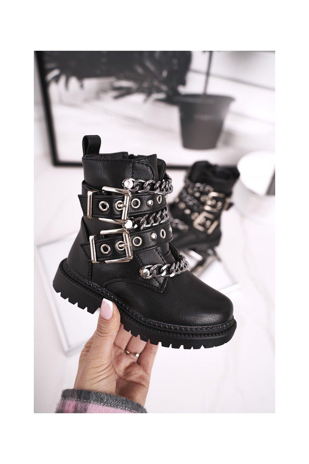 Detské členkové topánky farba čierna kód obuvi 7341-A BLK