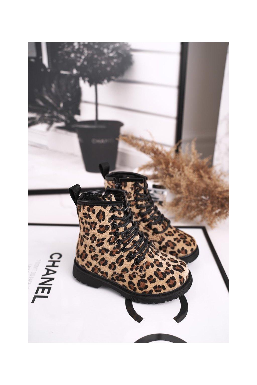 Detské členkové topánky farba hnedá kód obuvi 7345-A KHAKI LEOPARD