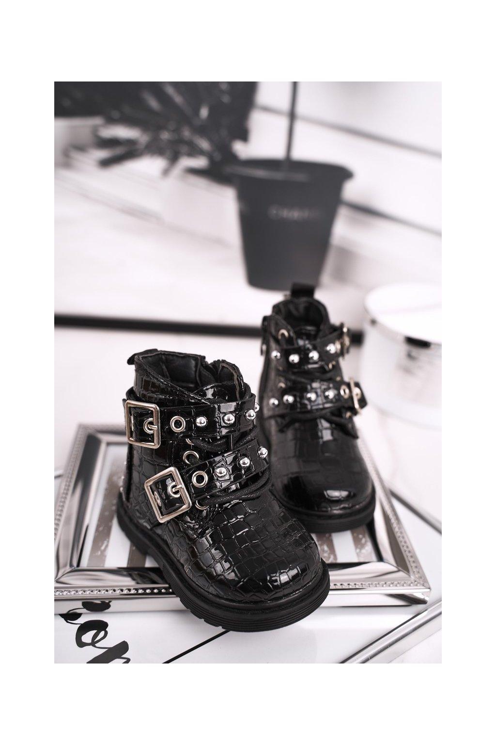 Detské členkové topánky farba čierna kód obuvi 7334-B BLK