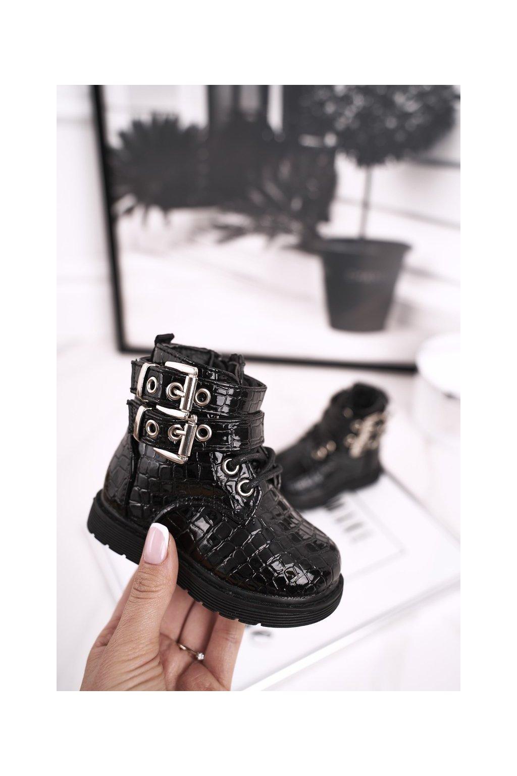 Detské členkové topánky farba čierna kód obuvi 7335-1B/2B BLK