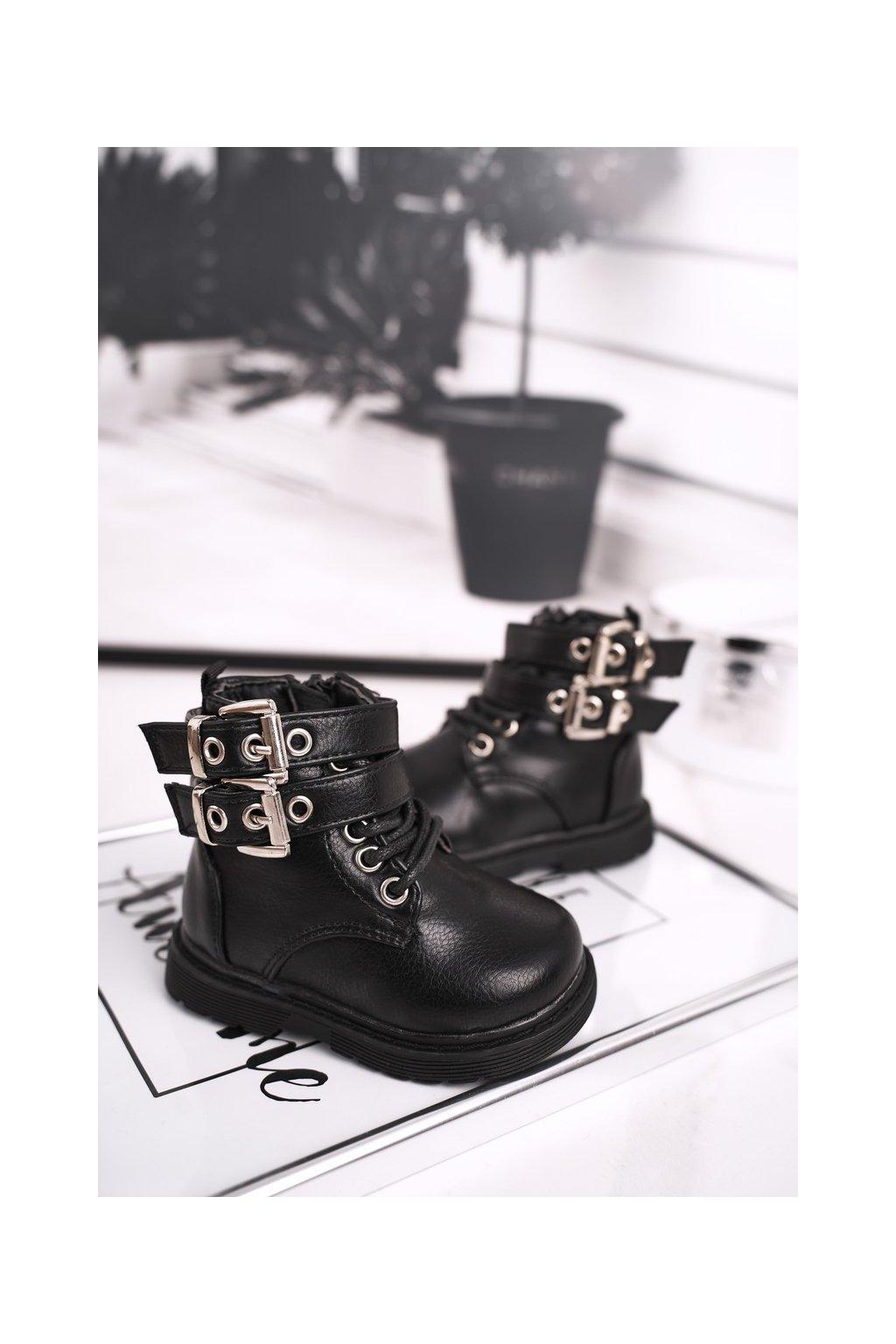 Detské členkové topánky farba čierna kód obuvi 7335-A BLK PU