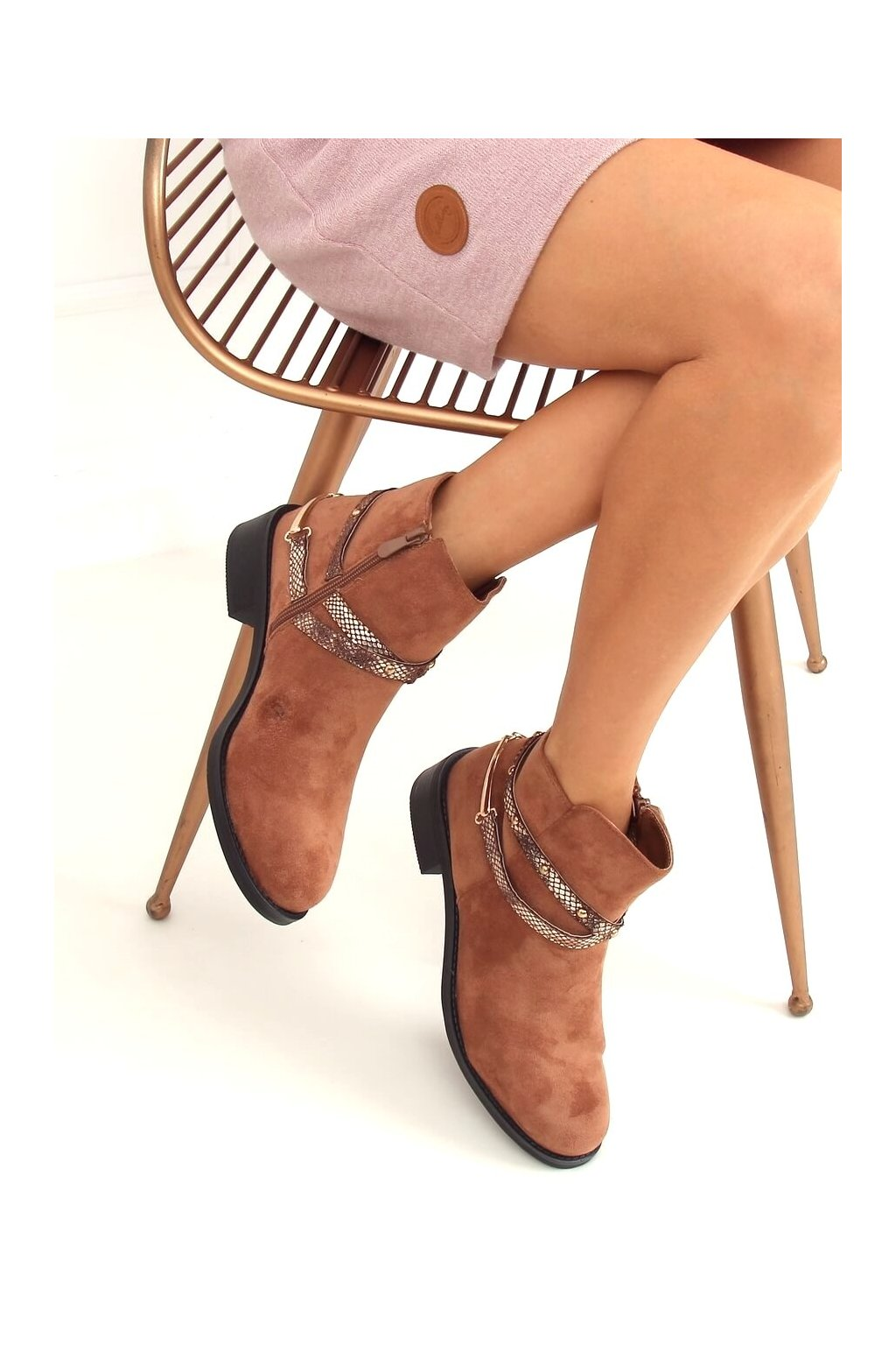 Dámske členkové topánky hnedé na plochom podpätku RQ332