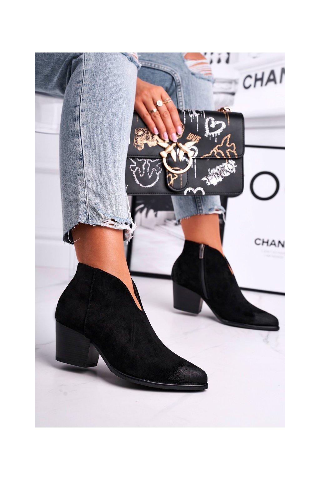 Členkové topánky na podpätku farba čierna kód obuvi 21-10542 BLK