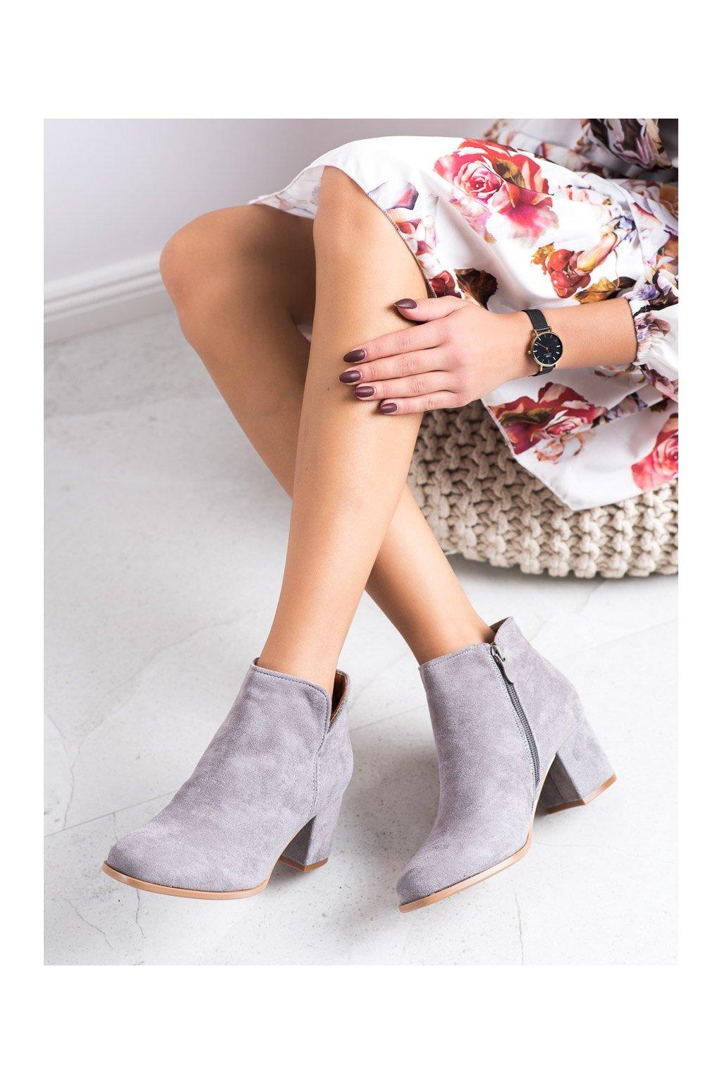 Sivé dámske topánky Bella paris kod A6205G