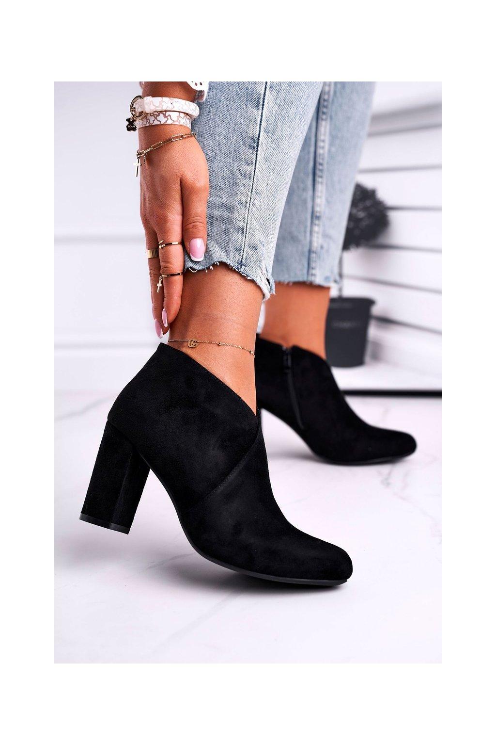 Členkové topánky na podpätku farba čierna kód obuvi BT498 BLK MIC