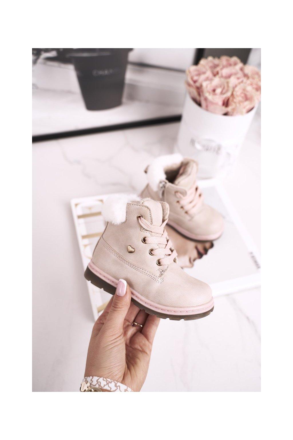 Detské členkové topánky farba hnedá kód obuvi 20DZ23-3172 BEIGE