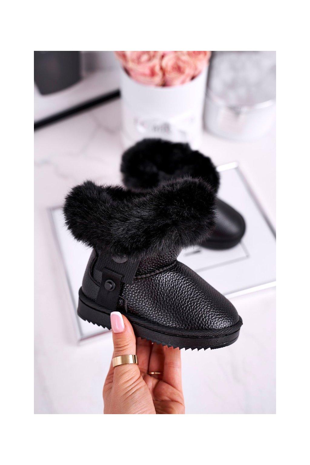 Detské snehule farba čierna kód obuvi LD27 BLK